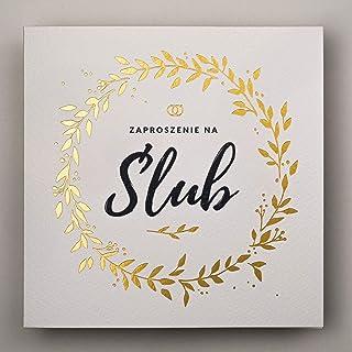 Konst NUVO WEDDING inbjudningskort – 20 st, 135 x 135 mm, med tryckta inre och kuvert för bröllop – guldfolie design på va...