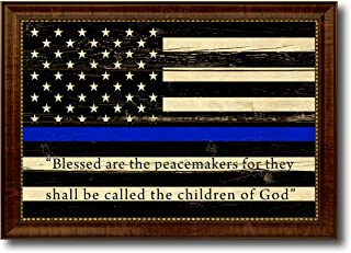 Law Enforcement Thin Blue Line Flag With Mathew 5:9 USA Vintage Flag Canvas Print Home Decor Wall Art Gifts Signs Cards, Brown Frame, 15