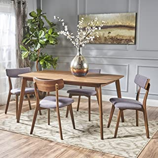 Christopher Knight Home 301318 Aman Mid Century Finished 5 Piece Wood Dining Set Fabric Chairs, Natural Walnut/Dark Grey