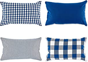 DII Gingham/Check Pillow Cover, 12x20, Assorted Navy/Off-White