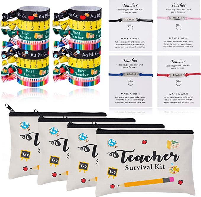 24pcs Teacher Appreciation Gifts 4 Makeup Pouch Cosmetic Bag and 4 Teach Blessing Card Bracelets with Greeting Card and 16 Teacher Hair Ties No Crease Ribbon Hair Ties Elastic Ponytail Holder