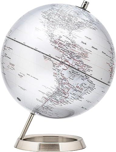 EXZACT Schülerglobus 25cm Globus Silber-Metallic Mit Basis aus rostfreiem Stahl - Pädagogische/Geografische/Desktop-D...