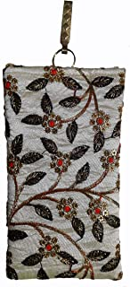 PRODUCTMINE® Ethnic Raw Silk Saree Clutch Embroidery Mobile Pouch Waist Clip and with String Ladies Purse Gift for Women - Multi Color