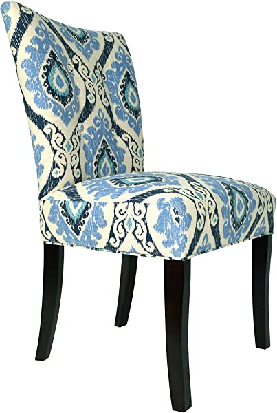Sole Designs Julia Collection Button Tufted Upholstered Spring Seat Double Dow Dining Armless Side Chairs Espresso Legs Blueberry Set Of 2