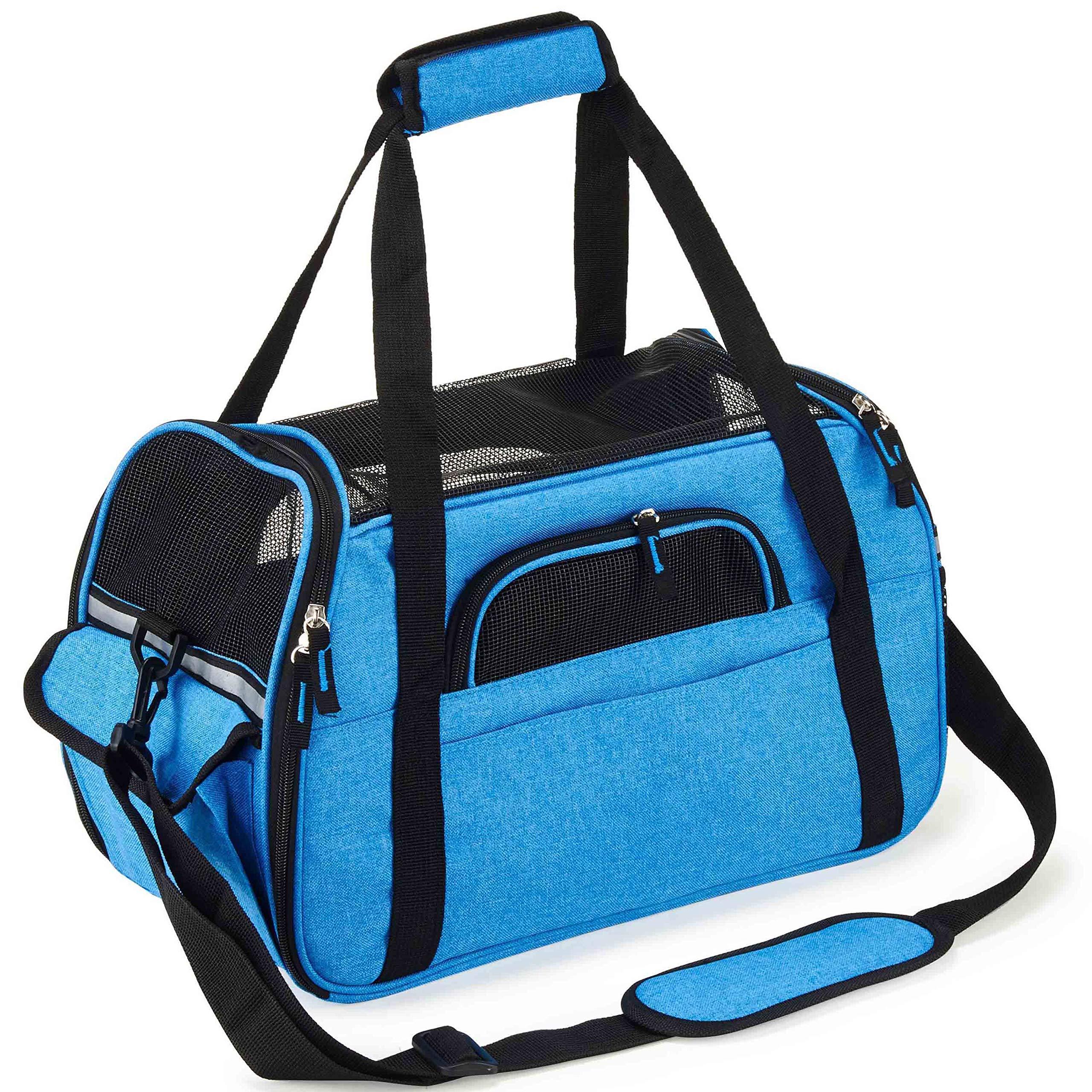 Kaka mall Transportín Perro Gato Transpirable Plegable Pet Carrier Impermeable Bolso de Hombro Acolchado Suave Viaje Avion Tren o Auto por Pequeños Mascota (Azul, L): Amazon.es: Productos para mascotas