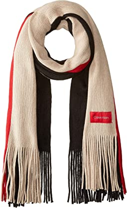 Three-Color Wrap Knit Scarf