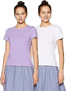 Amazon Brand - Symbol Women's Solid Regular Fit Half Sleeve T-Shirt (Combo Pack of 2)