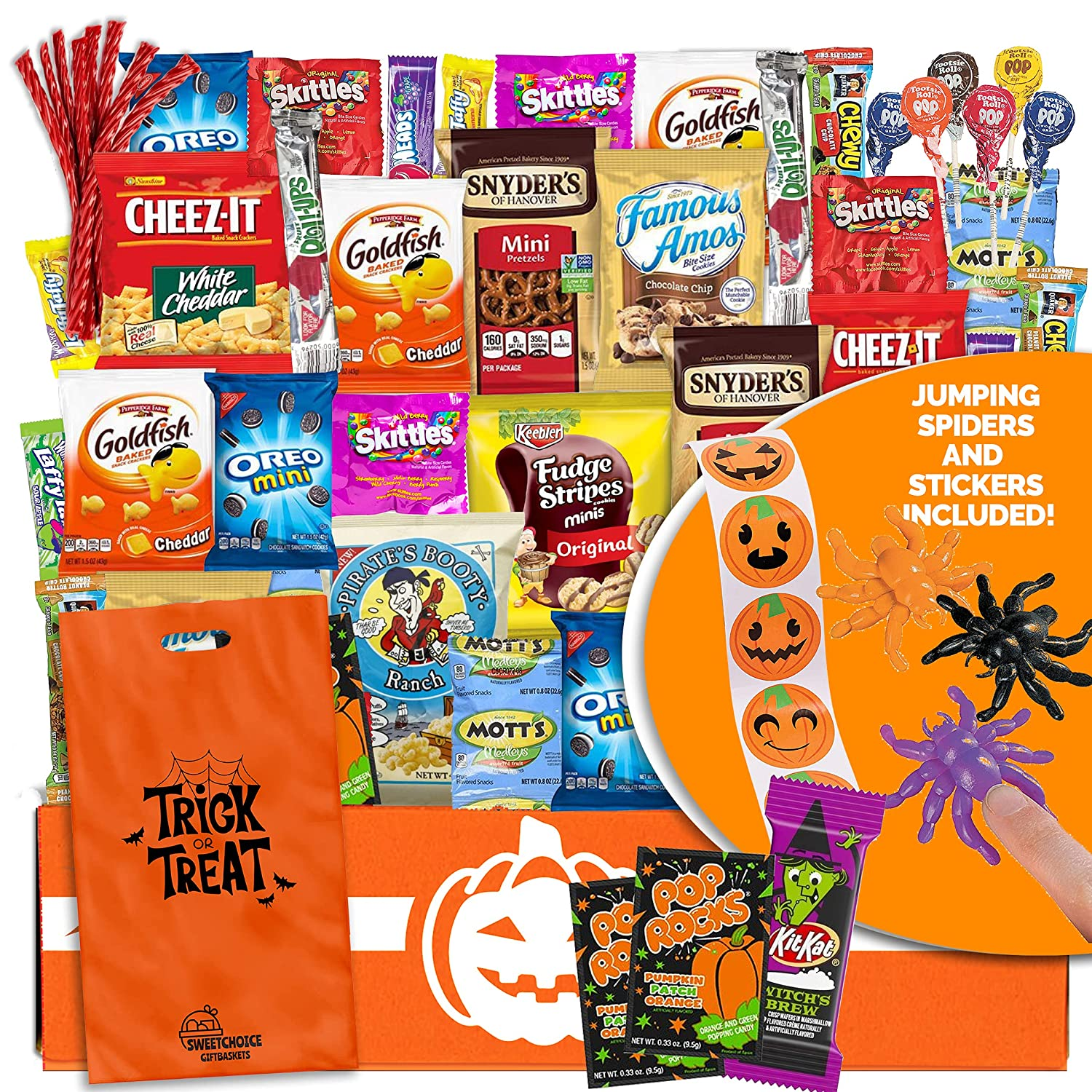 Halloween Care Package Snack box (45) Candy Snacks Assortment Trick or Treat Cookies Food Bars Toys Variety Gift Pack Box Bundle Mixed Bulk Sampler for Children Kids Boys Girls College Students Office