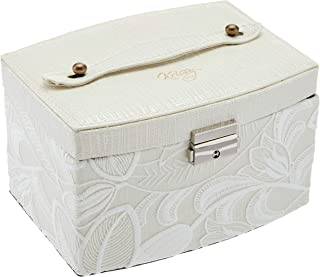 Krissy&Co Vintage Jewelry Box, Ivory Faux Leather, with Two Layers for Earrings, Necklaces, Rings - Beautiful Bridal Jewel...