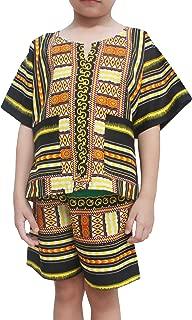 Raan Pah Muang 儿童中性款 Afrikan Dashiki 衬衫和短裤套装 拼接棉