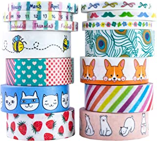 Aloha Washi Tape Set 14 Rolls of Decorative Masking Tape for Bullet Journals, Day Planner, Gift Wrapping, DIY Scrapbooking