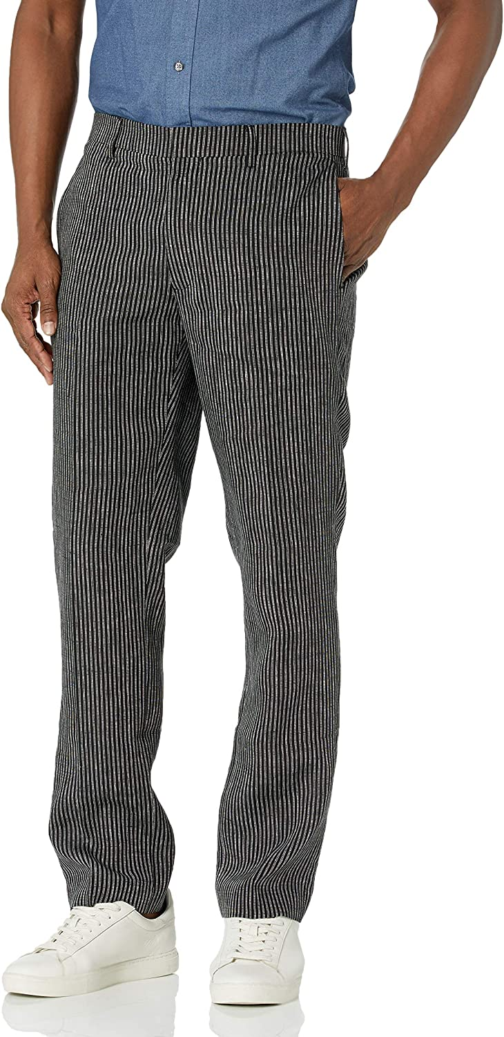 Large special Inventory cleanup selling sale price Cubavera Men's Y D Linen Narrow Flat Stripe Ff Front Pant