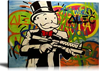 Newartprint ALEC Monopoly HD Printed Oil Paintings Home Wall Decor Art On Canvas Gun Man 24x32inch Unframed