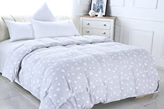 Xi Jingyi Mulberry Silk Comforter Filled by 100-Percent Natural Mulberry Wools Comforter Filled by 100-Percent Natural Duvets White Simple Satin Plaid Cotton Cover (Gray, 86.694.5)