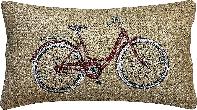 Buy Honeycomb Indoor/Outdoor Raffia Bicycle Red Lumbar Toss Pillow ...