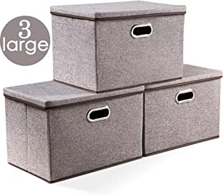 Prandom Large Collapsible Storage Bins with Lids [3-Pack] Linen Fabric Foldable Storage Boxes Organizer Containers Baskets Cube with Cover for Home Bedroom Closet Office Nursery (17.7x11.8x11.8)