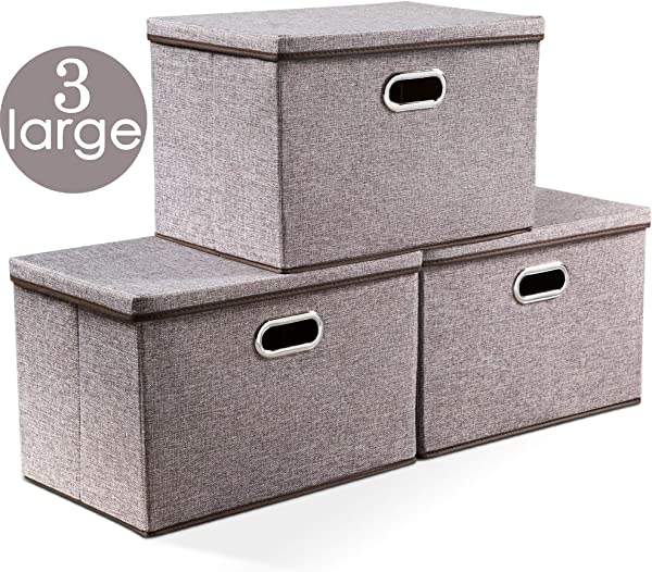 Prandom Large Collapsible Storage Bins With Lids 3 Pack Linen Fabric Foldable Storage Boxes Organizer Containers Baskets Cube With Cover For Home Bedroom Closet Office Nursery 17 7x11 8x11 8