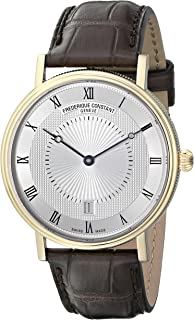 Frederique Constant Men's Slim Line Gold-Tone Stainless Steel Swiss Automatic Watch with Silver Dial and Brown Leather Band FC-306MC4S35