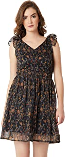 Miss Chase Women's Multicolored Floral Chiffon Skater Mini Dress