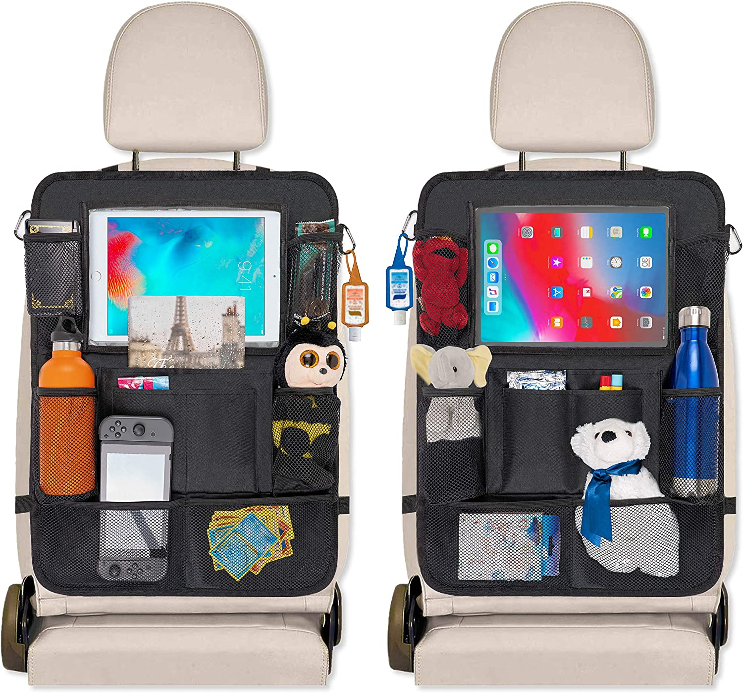 Car Seat Organizer for Toddlers and Big Kids with Kick Mats Back Seat Protector - 9 Storage Pockets for Toys, Travels Accessories, Snacks, Cup Holder and 10