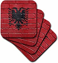3dRose National Flag of Albania Painted onto a Brick Wall Albanian - Soft Coasters, Set of 4 (CST_155167_1)