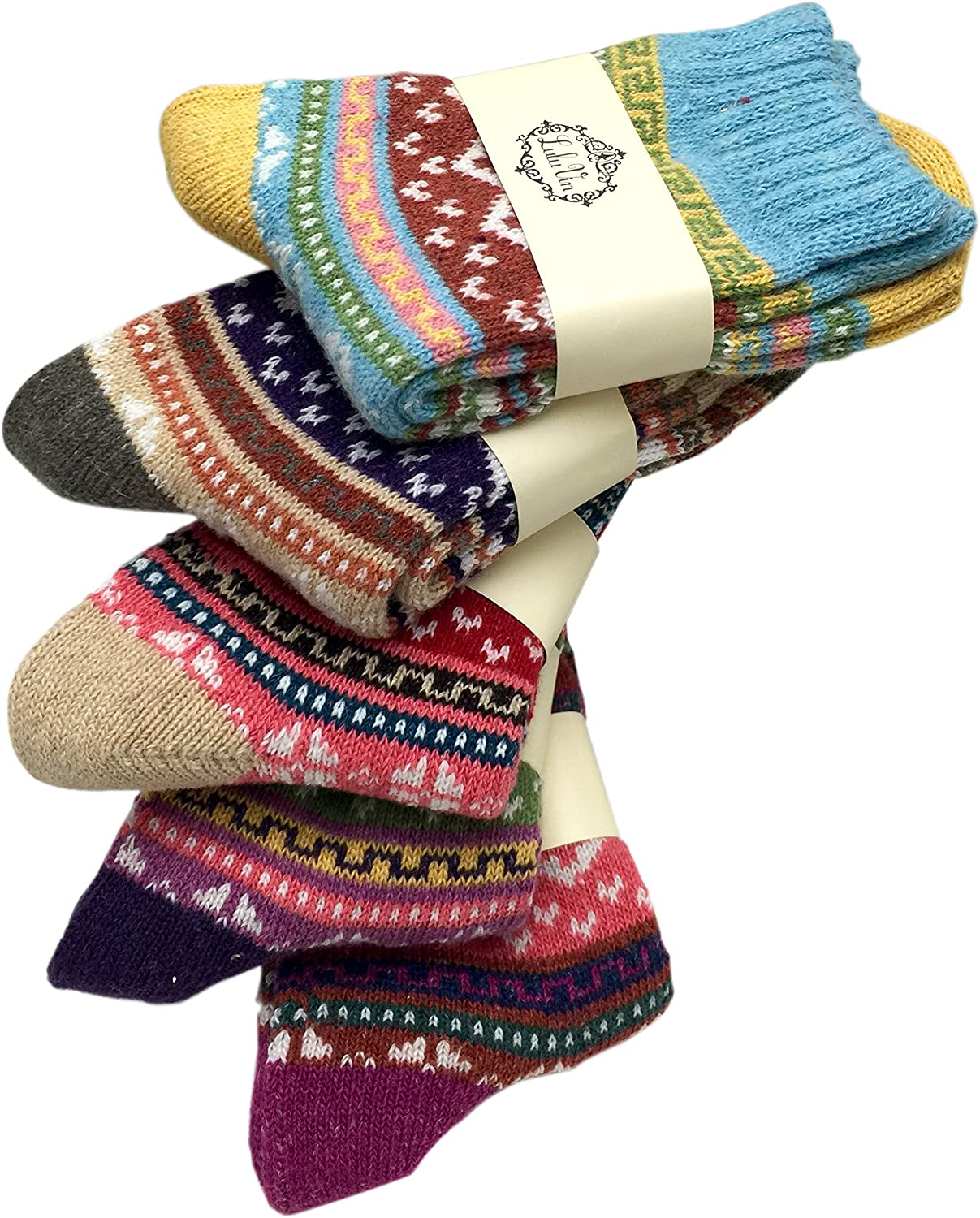 Women's Warm Winter colorful Crew Socks (5 Pairs)