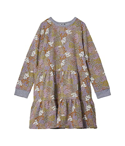 COTTON ON Angie Long Sleeve Dress (Toddler/Little Kids/Big Kids) (Grey Marle/Floral Fields) Girl