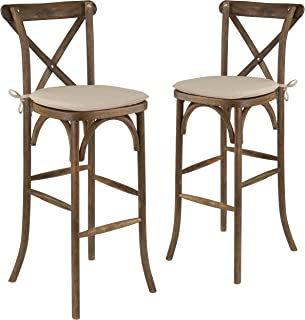 Flash Furniture 2 Pk. HERCULES Series Dark Antique Wood Cross Back Barstool with Cushion