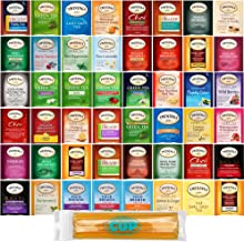 Twinings Tea Bag Sampler Gift Pack, 48 Count Assortment Includes Organic, Green, Black, Herbal, Earl Grey, English Breakfast, Decaf, Camomile, Chai Tea and More with By The Cup Honey Sticks