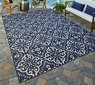 Gertmenian 21565 Nautical Tropical Carpet Outdoor Patio Rug, 5x7 Standard, Navy Floral Medallion