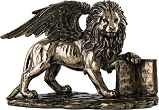 Top Collection Lion of Saint Mark Statue Holding The Holy Bible - Winged Lion Sculpture in Premium Cold Cast Bronze - 6.75-Inch Collectible Museum Grade Replica Figurine