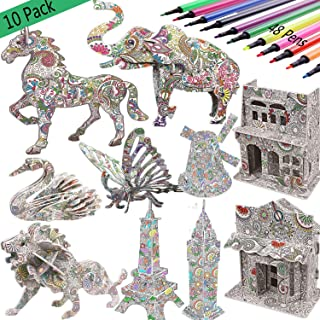 3D Coloring Puzzle Set,10 Pack Puzzles with 48 Pen Markers, Art Coloring Painting 3D Puzzle for Kids Age 7 8 9 10 11 12. Fun Creative DIY Toys Gift for Girls and Boy