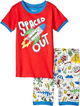 Dinos & Aliens Doodles Applique Short Pajama Set (Toddler/Little Kids/Big Kids)