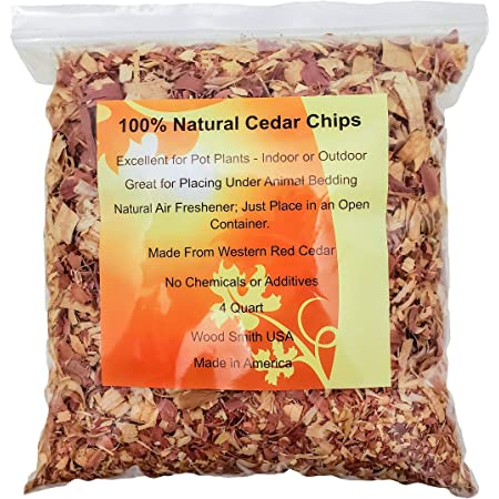 100% Natural Cedar Shavings | Mulch | Great for Outdoors or Indoor Potted Plants | Dog Bedding (4 Quart)