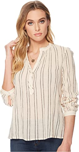 Lucky Brand Striped Artisan Popover Top