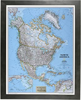 Push Pin Travel Maps Personalized Classic North America with Rustic Black Frame and Pins