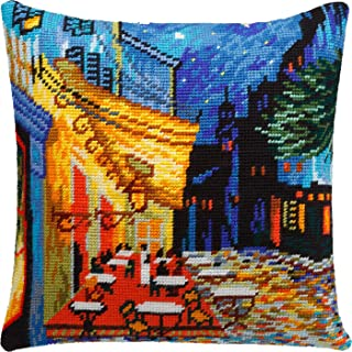 Caf� Terrace at Night by Vincent Van Gogh. Needlepoint Kit. Throw Pillow 16�16 Inches. Printed Tapestry Canvas, European Quality