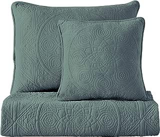 Maison Atlas Velvet Quilt, Charlotte Premium Velvet Collection, Cotton Backing, Cotton Batting, Full/Queen, Blue Green Slate