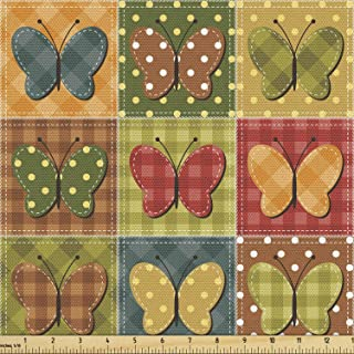 Lunarable Cabin Fabric by The Yard, Dotted Checkered Patchwork Image with Butterflies Sewing Themed Retro Style, Decorativ...