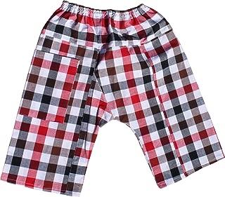RaanPahMuang Soft Plaid Thai Cotton Childrens Baggy Elastic Waist Low Rider Pants