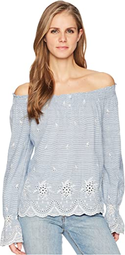 Bell Sleeve Embroidered Peasant Top