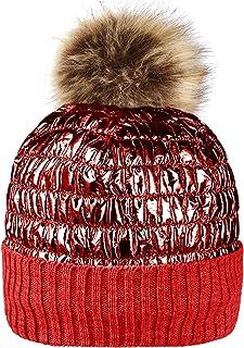 Oalka Winter Knit Hats for Women Thick Pom Pom Metallic Shiny Beanies Ski Cap