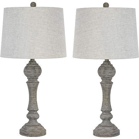 Amazon Com Signature Design By Ashley Bernadate Vintage Table Lamp Set Of 2 Whitewash Furniture Decor
