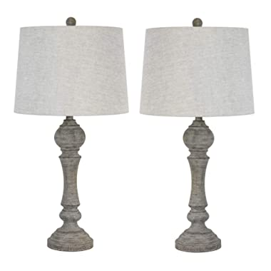 Grandview Gallery 32  Reclaimed Grey Table Lamps w/Linen Lamp Shades, Set of Two, Farmhouse and Country Style