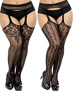 Womens Plus Size Stockings Suspender Pantyhose Fishnet Tights Black Thigh High Stocking 2Pairs Size(US 8-16)