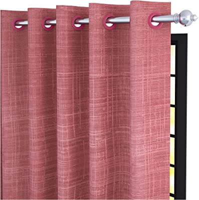 Story@Home Bloom Collection Jacquard Criss-Cross Pattern Ringtop Eyelet 1 Piece Window Curtain - 5 Feet, Salmon Pink