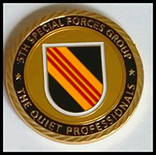 Army 5th Special Forces Group - The Quiet Professionals Military Colorized Challenge Art Coin