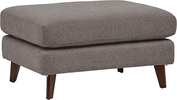 Rivet Sloane Mid Century Modern Ottoman With Tapered Legs 31 9 W Storm Gray