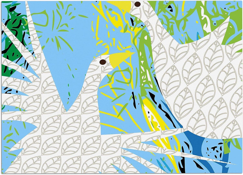 KESS InHouse JS3016ADM02 Pattern Muse Pond Birds bluee White Dog Place Mat, 24  x 15