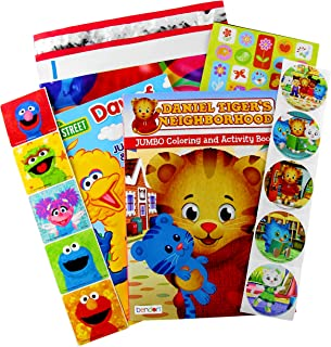 Sesame Street  and Daniel Tiger Coloring Book and Stickers Gift Set - Bundle Includes 2 96-pg Coloring Books with Stickers in Specialty Gift Bag